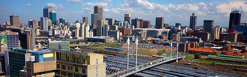 Central Business District, with Nelson Mandela Bridge, Johannesburg, South Africa