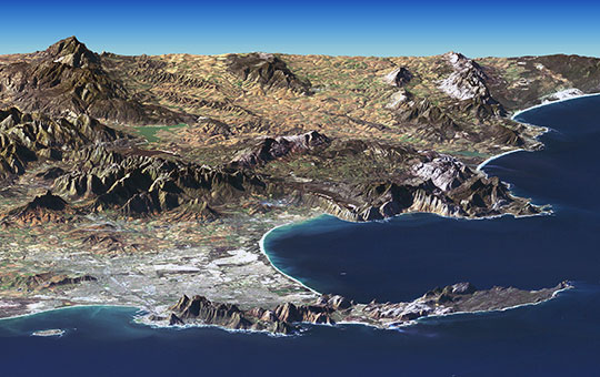Satellite image of Cape peninsula with Cape Town