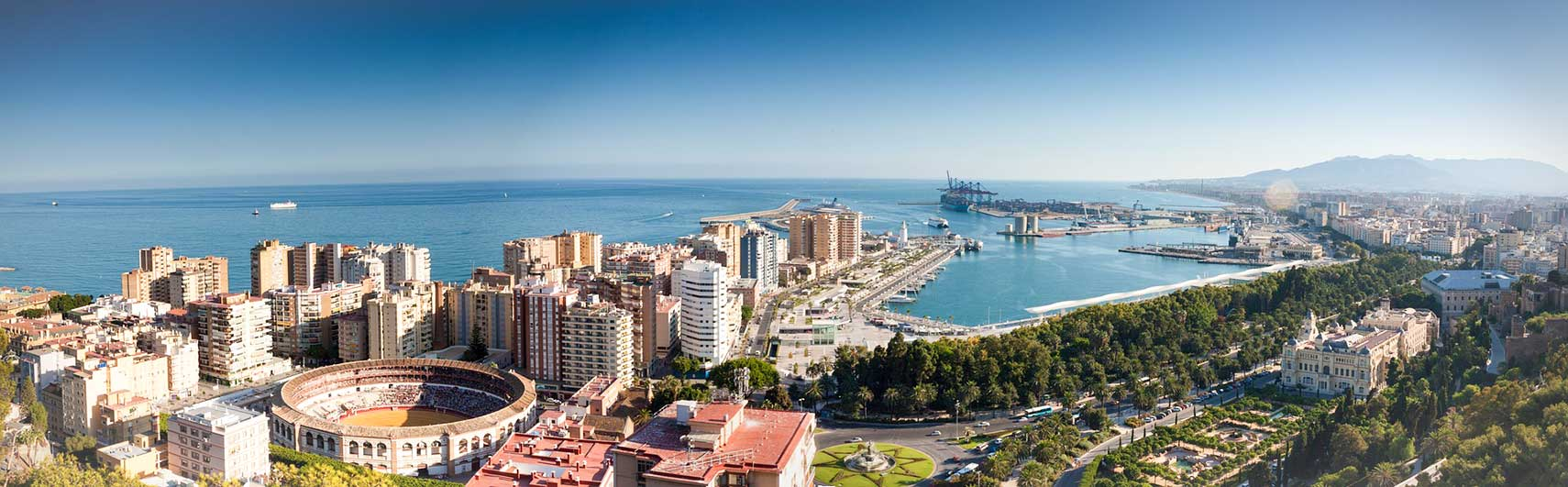 Málaga, port city at Costa del Sol, Spain