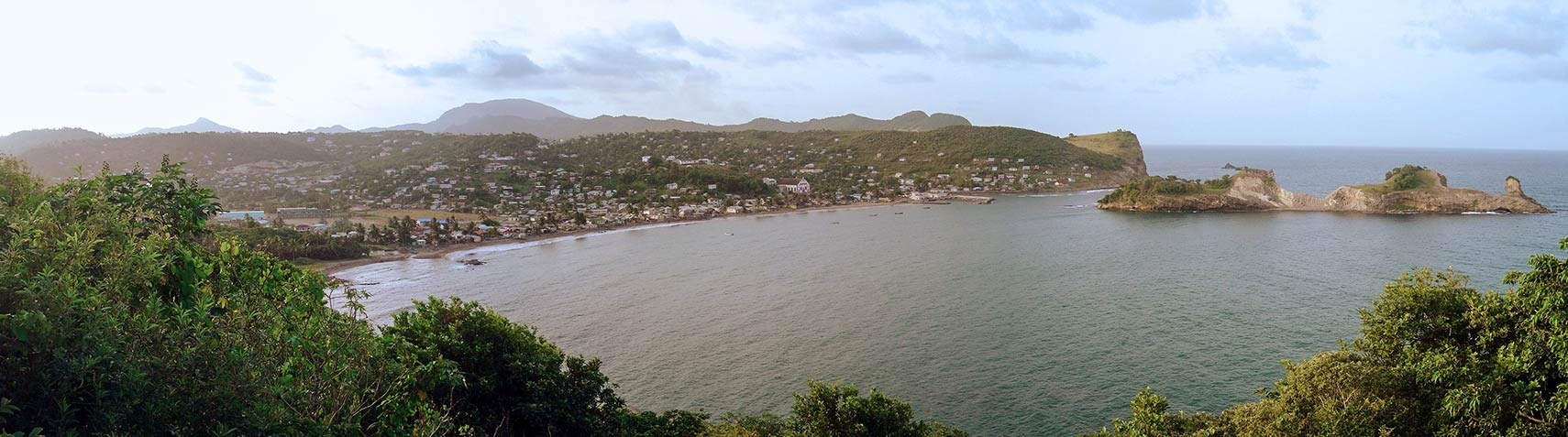 Dennery town on the east coast of the island of Saint Lucia