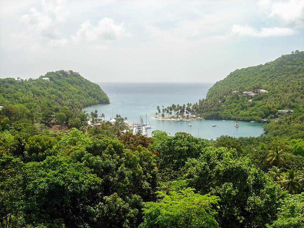 view of Saint Lucia's Marigot Bay