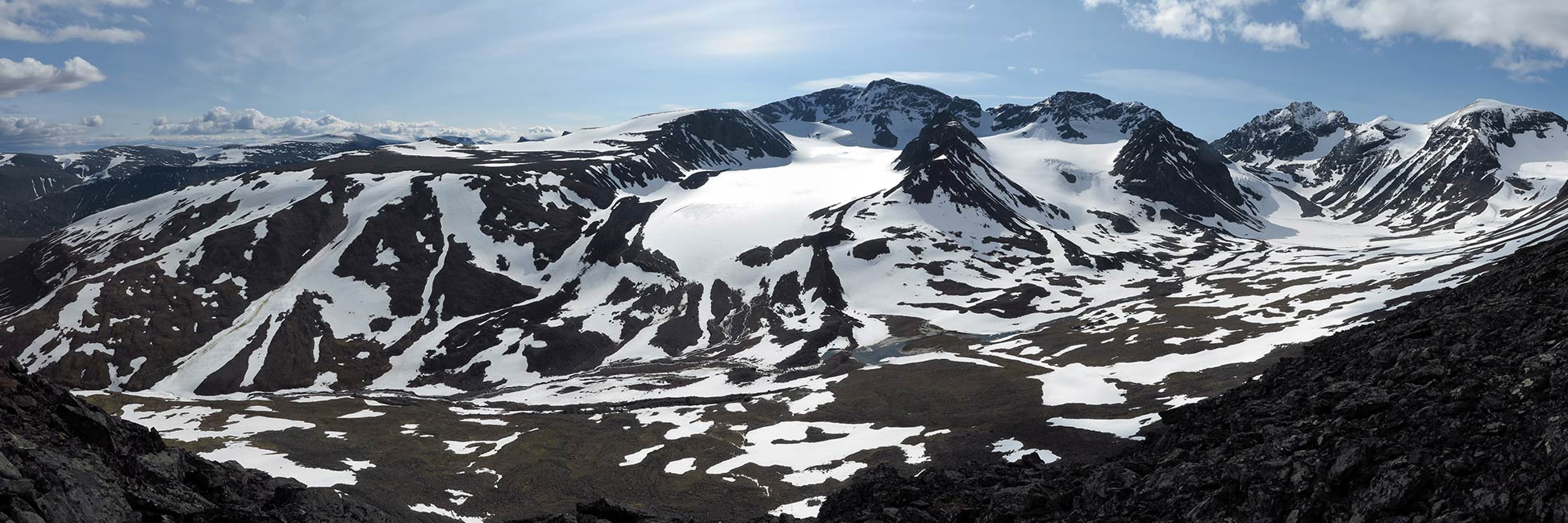Panorama of the Tarfala valley with Kebnekaise, Sweden's highest mountain.