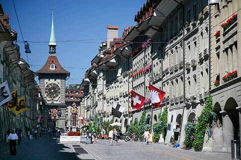 Kramgasse with Clock Tower in Bern, Switzerland