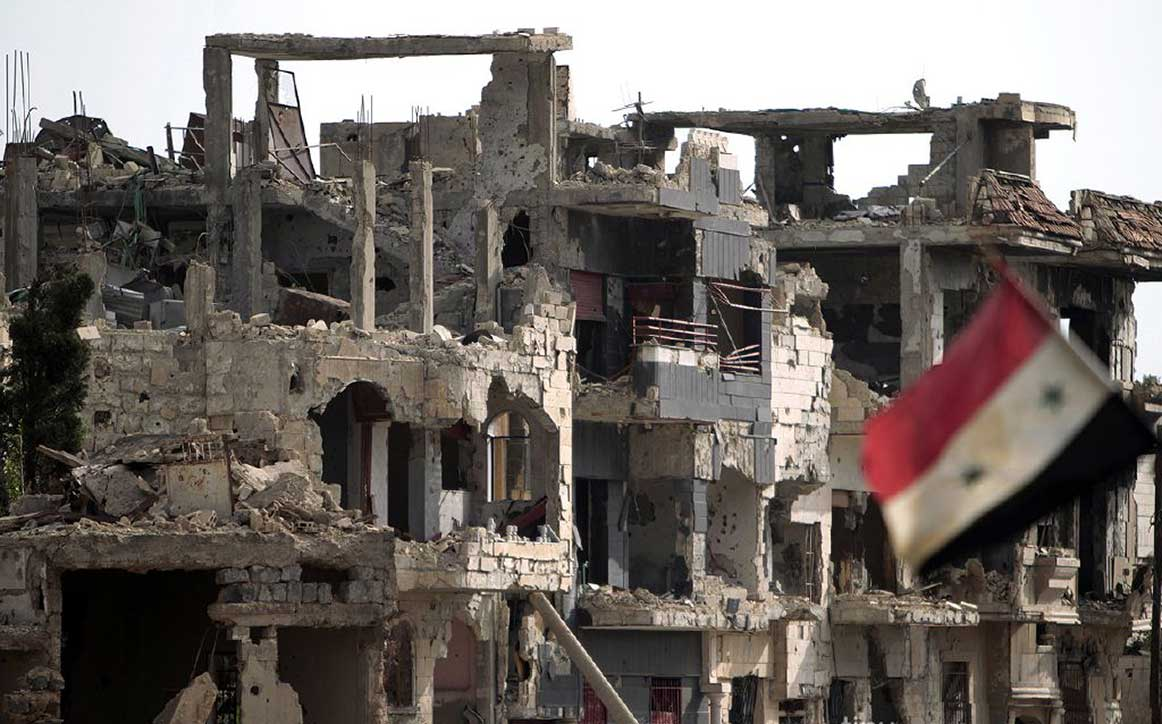 Street in destroyed city of Homs