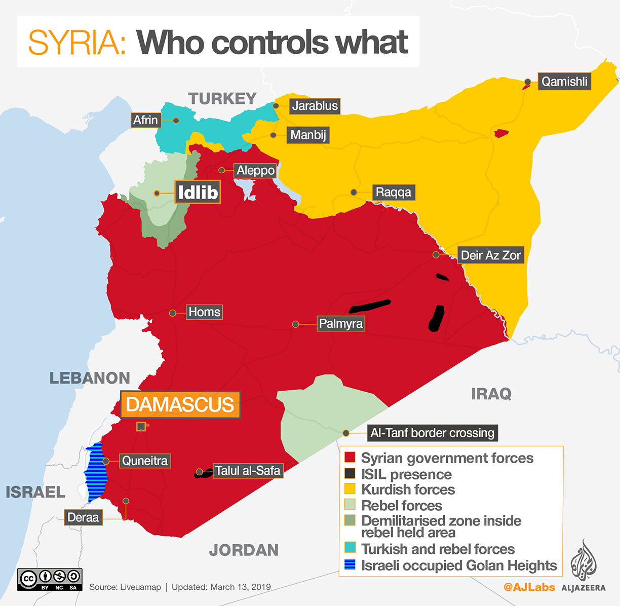 Map of Syrian war showing the location of the diverse occupied territories