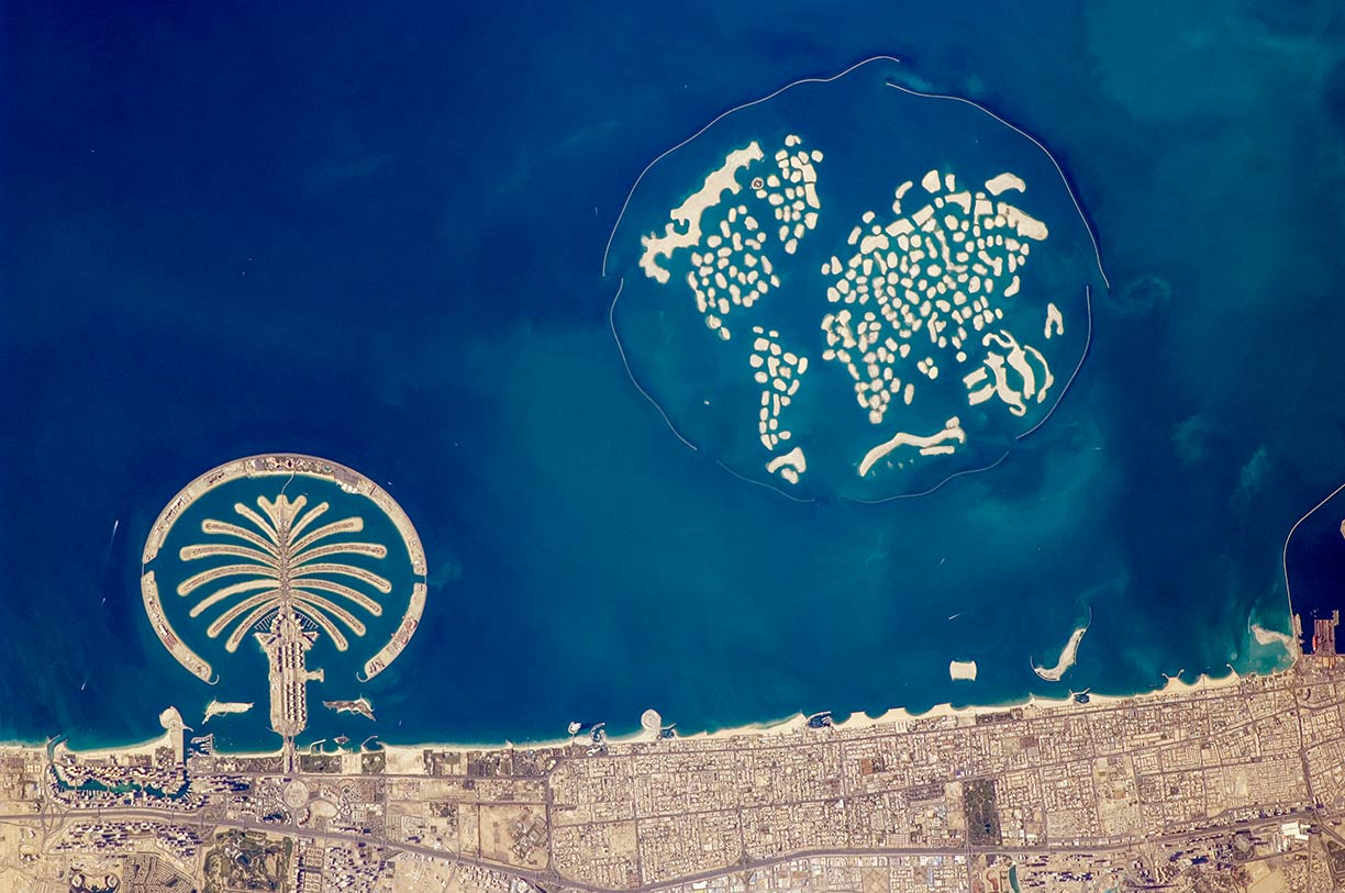 Satellite image of the artificial archipelagos in Dubai, UAE