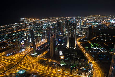 Dubai City at nigt, United Arab Emirates