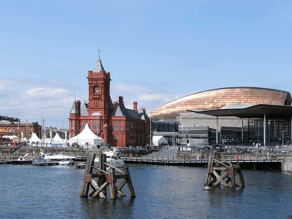 Cardiff Bay with Pierhead Building, Wales Millennium Centre, and the National Assembly building (Senedd) in Cardiff, Wales, United Kingdom