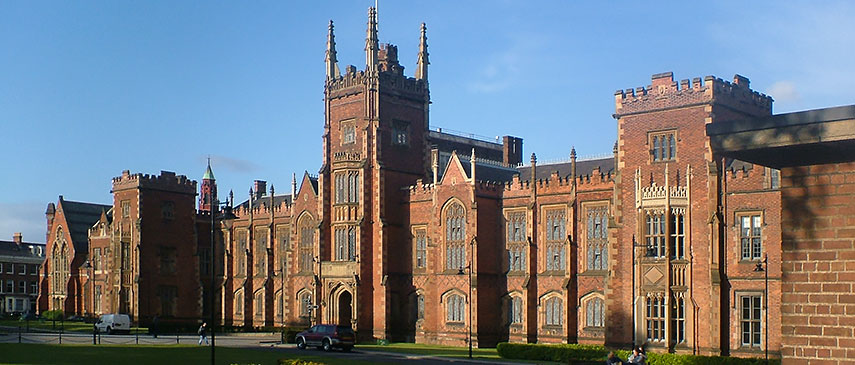 Lanyon Building of Queen's University in south Belfast, Northern Ireland, UK