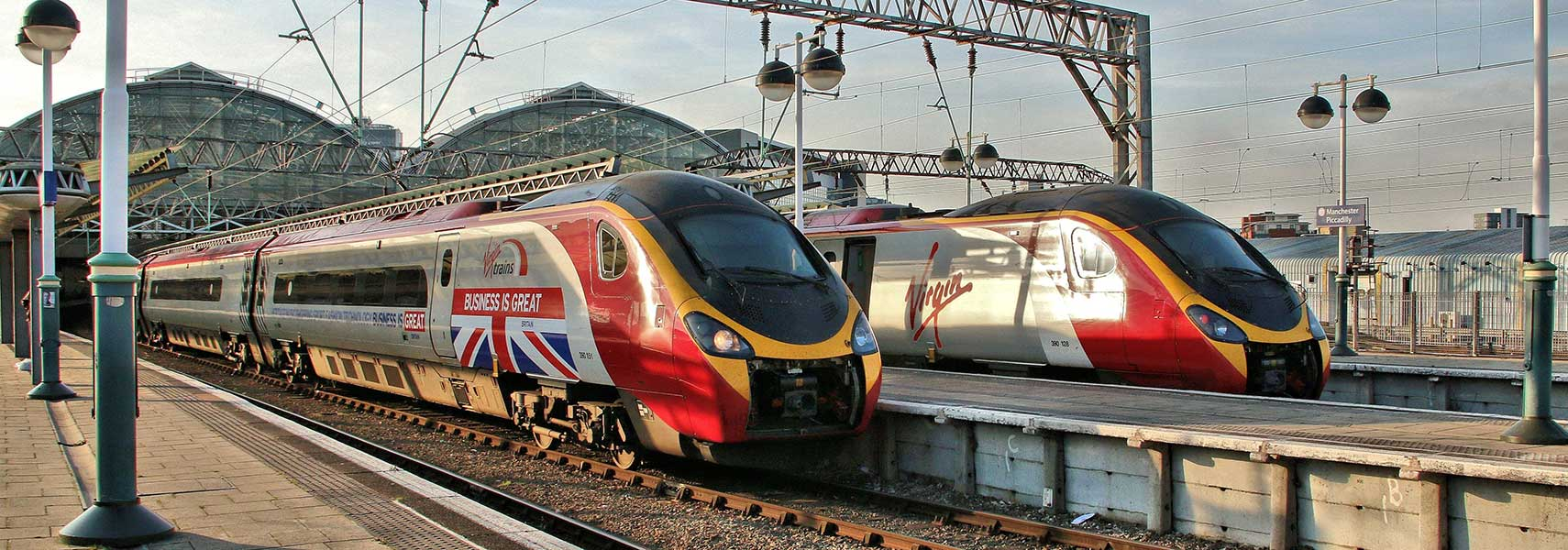Virgin Trains at Manchester Piccadilly station. Manchester, England