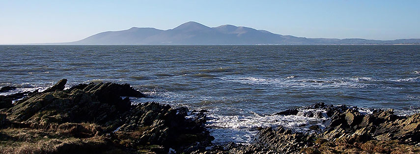 View of the Mourne Mountains from St John's Point, Northern Ireland, United Kingdom