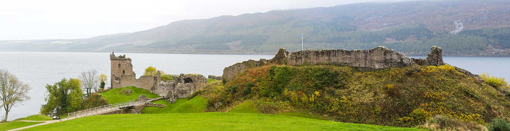 Ruins of Urquhart Castle at Loch Ness, Scotland, UK