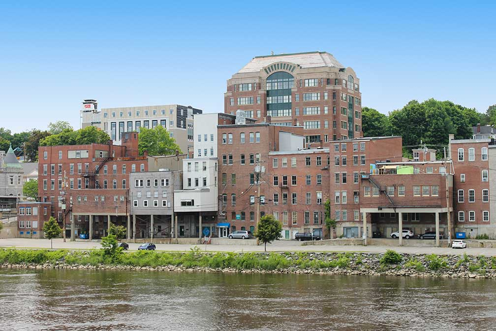 Downtown Augusta seen from across Kennebec River, State of Maine, United States
