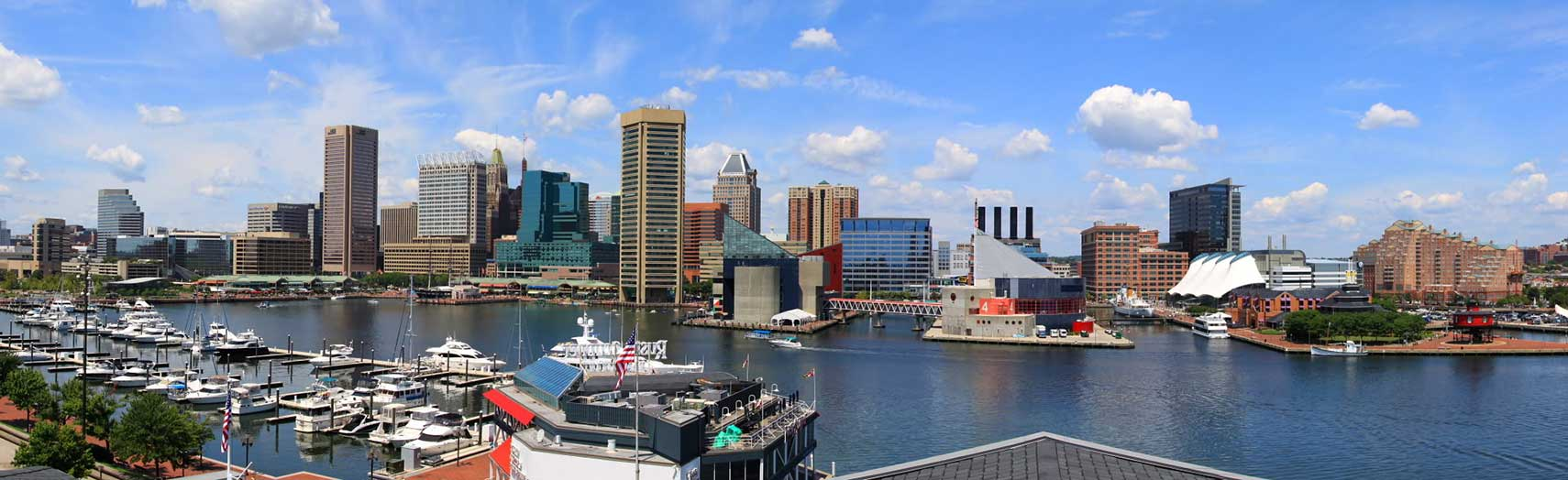 panorama of baltimore showing the inner harbor and adjacent buildings in baltimore maryland