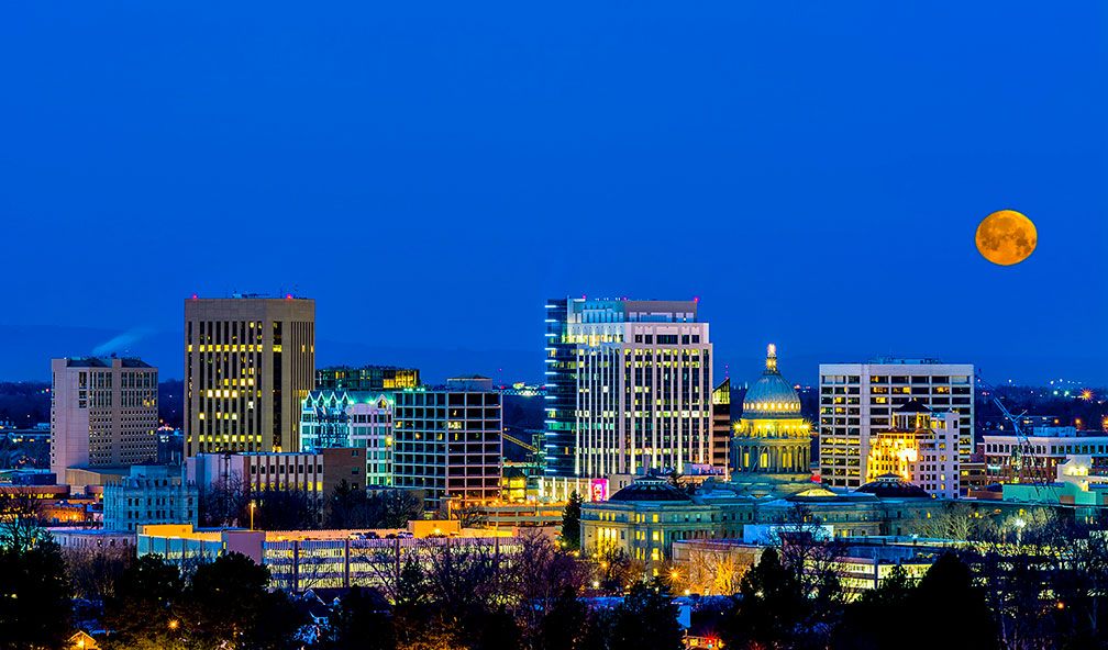 Blue night sky over Boise Idaho