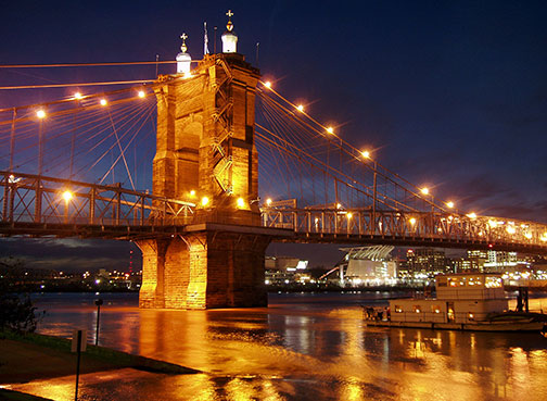 John A. Roebling Suspension Bridge over Ohio River, Cincinnati, Ohio