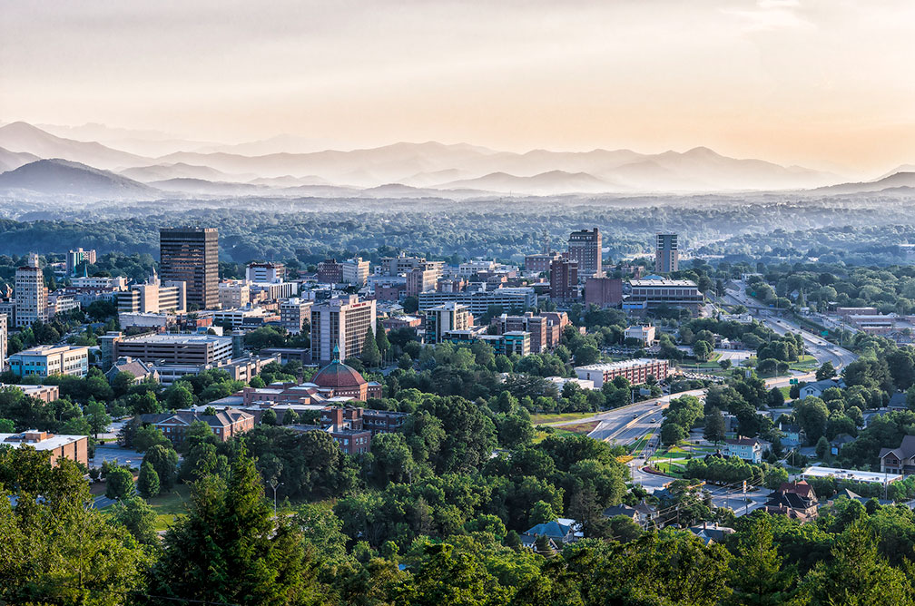View of the City of the city of Asheville in North Carolina