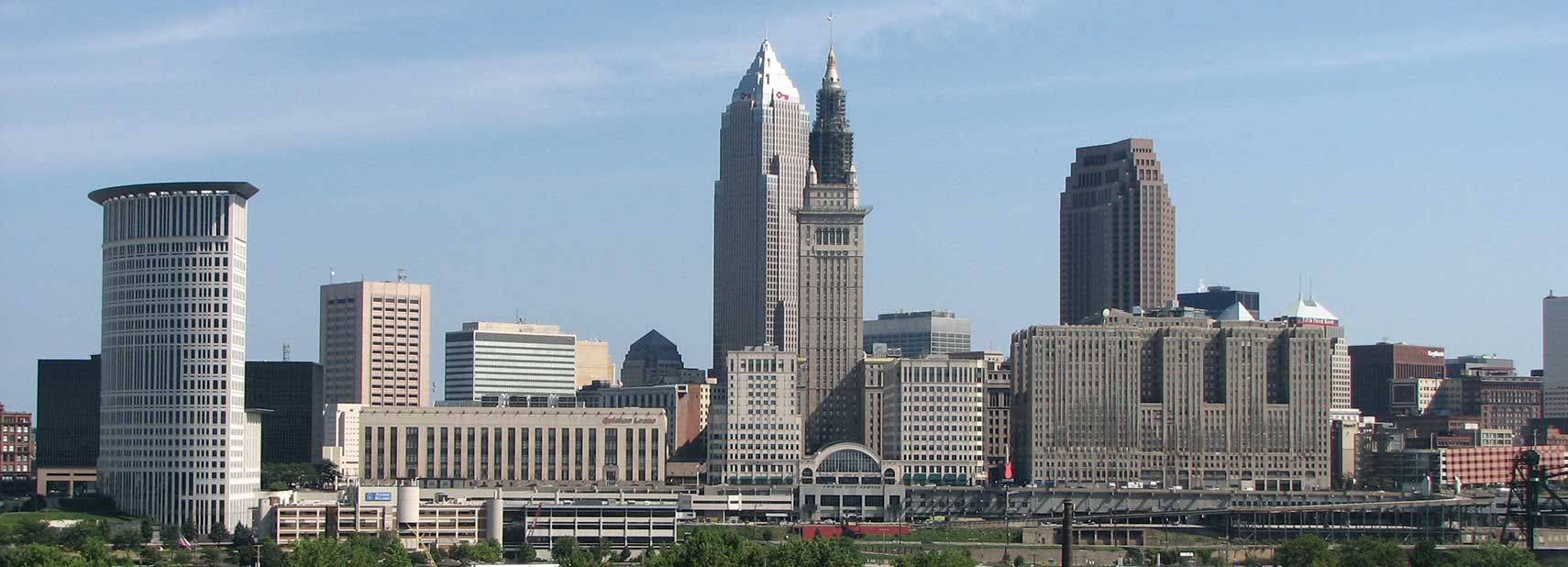 Skyline of Downtown Cleveland  Ohio. Google Map of Cleveland  Ohio  USA   Nations Online Project