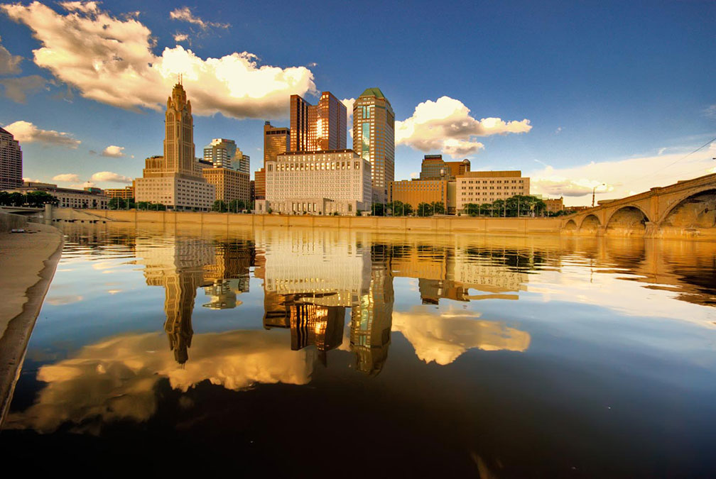 Skyline of Columbus at Scioto River, Ohio
