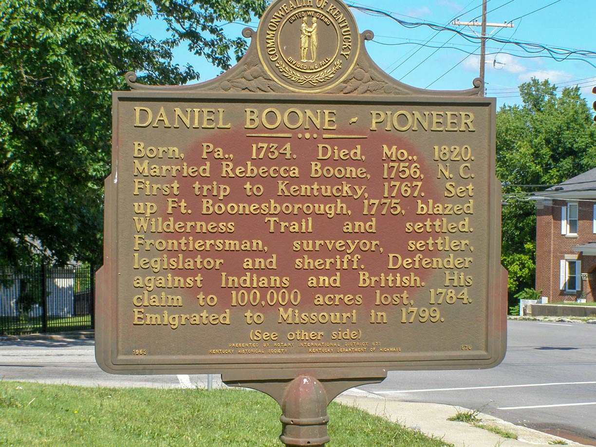 Daniel Boone commemorative plaque in Frankfort, Kentucky, United States
