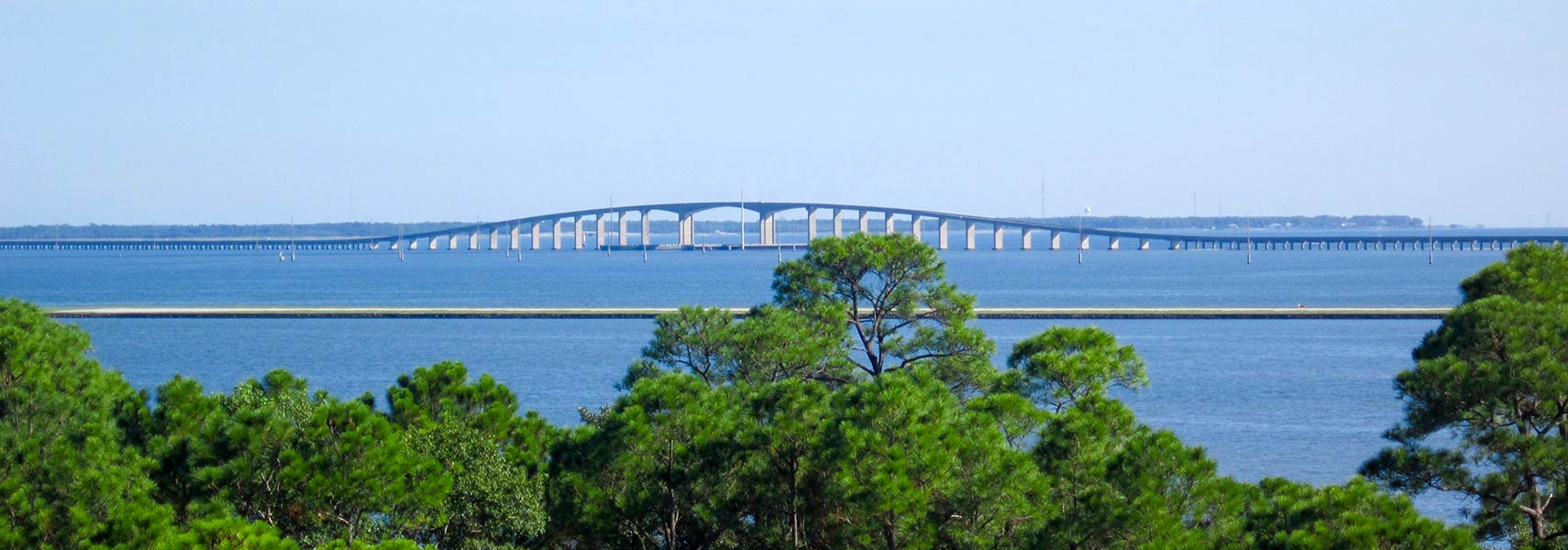 View of Dauphin Island Bridge across the Gulf Intracoastal Waterway