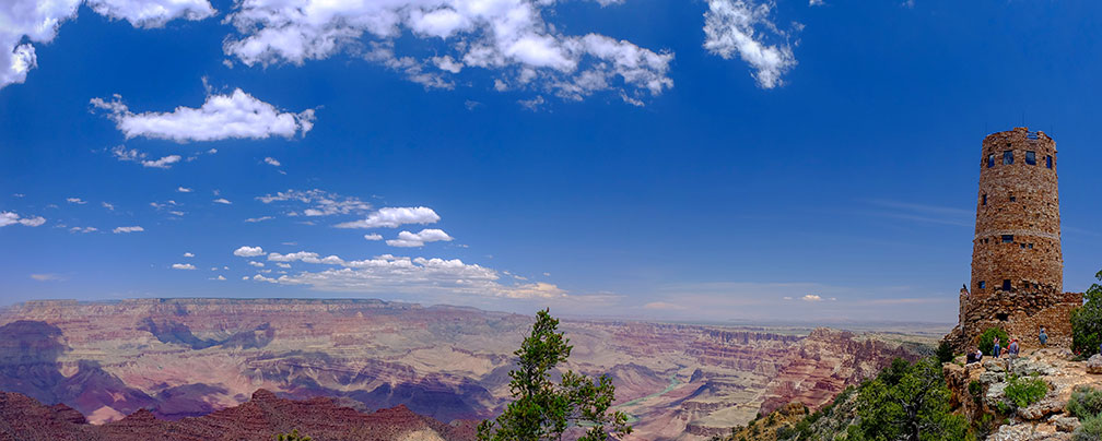 Desert View Watchtower and Grand Canyon on South Rim, Arizona