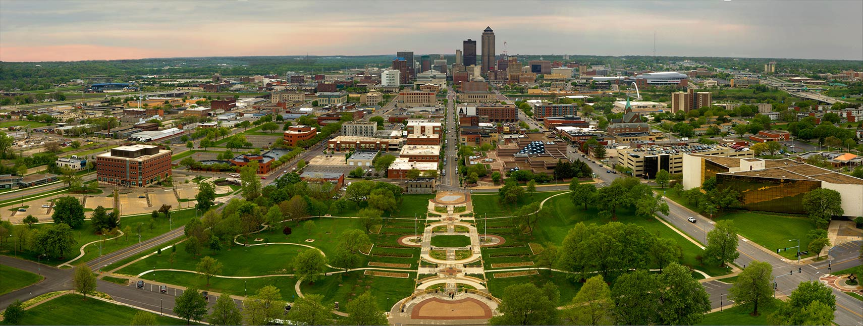 Downtown Des Moines, view from top of Iowa Capitol Building