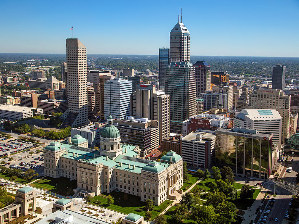 Downtown Indianapolis with Indiana Statehouse in the foreground
