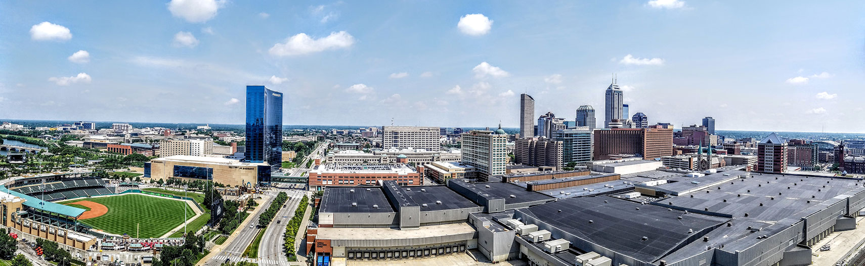 Panorama of Downtown Indianapolis with Indiana Convention Center