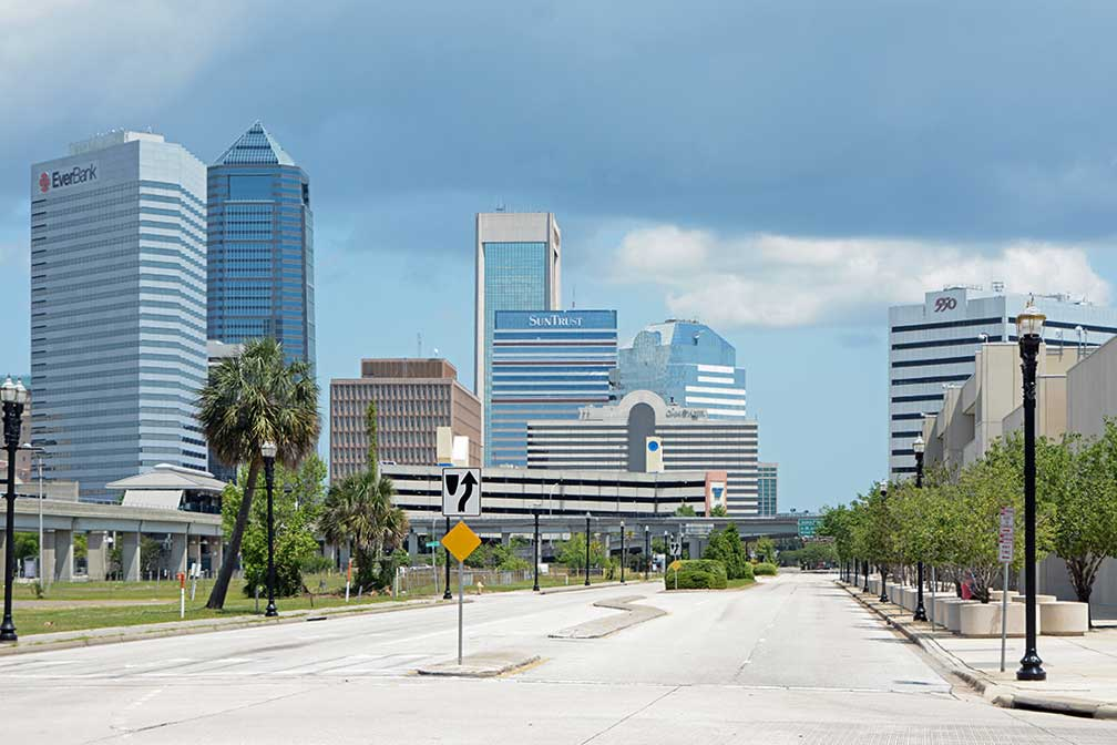Downtown Jacksonville with EverBank Center, Wells Fargo Center, SunTrust Tower, Omni Jacksonville Hotel, Bank of America Tower, and 550 Water Street, Jacksonville, Florida