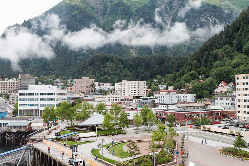 Downtown Juneau with Mount Juneau; Alaska, USA
