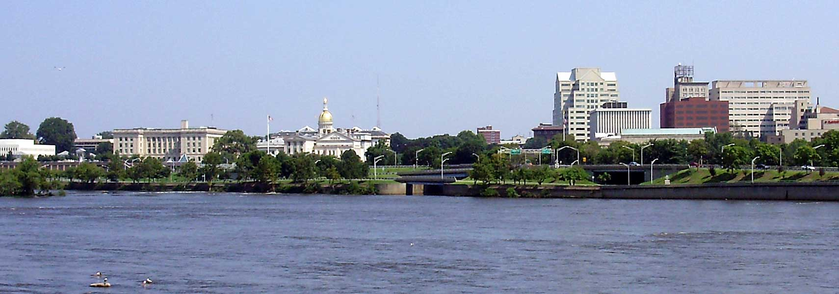 View of downtown Trenton, New Jersey and the mouth of the Assunpink Creek from across the Delaware River