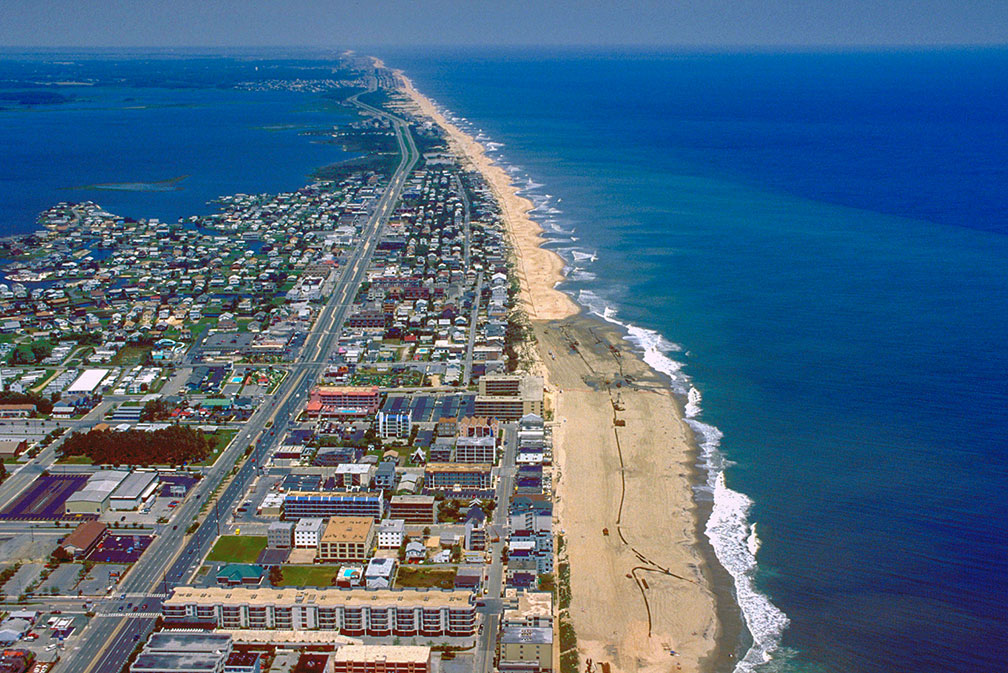 Aerial view of Fenwick Island and Ocean City in Maryland
