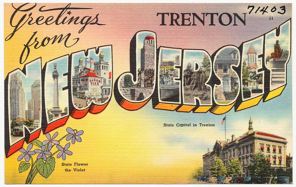 Old postcard: Greetings from Trenton New Jersey