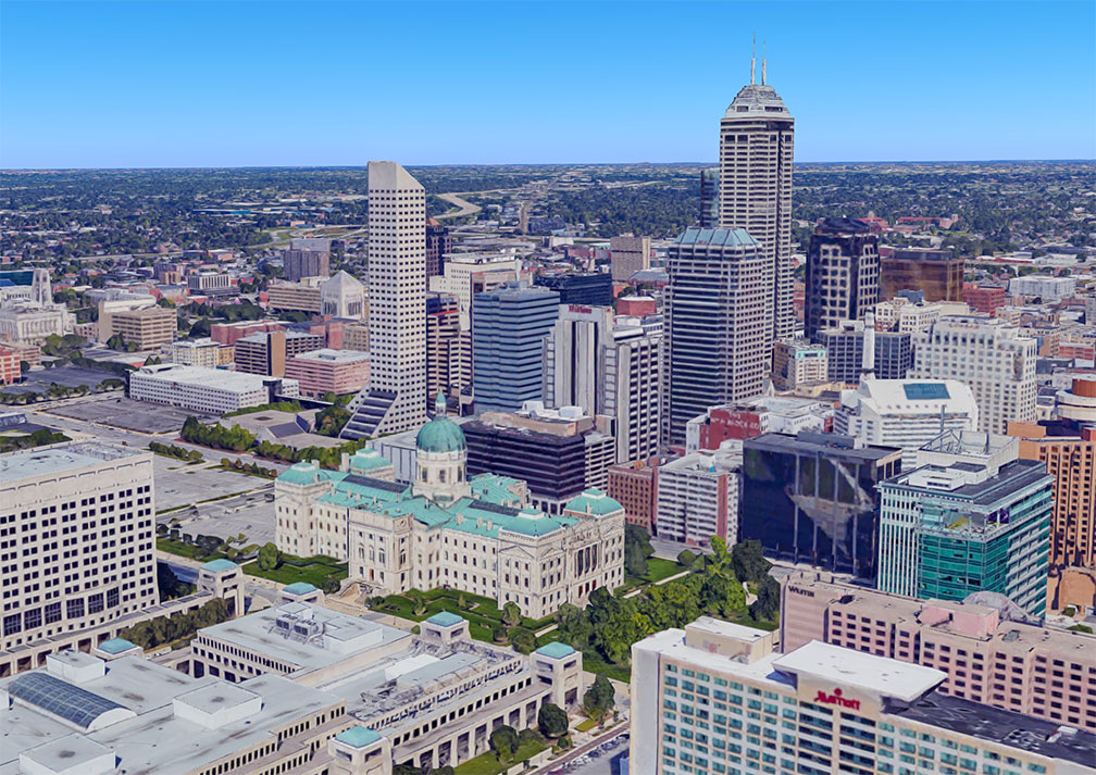 Downtown Indianapolis with Indiana Statehouse in the center