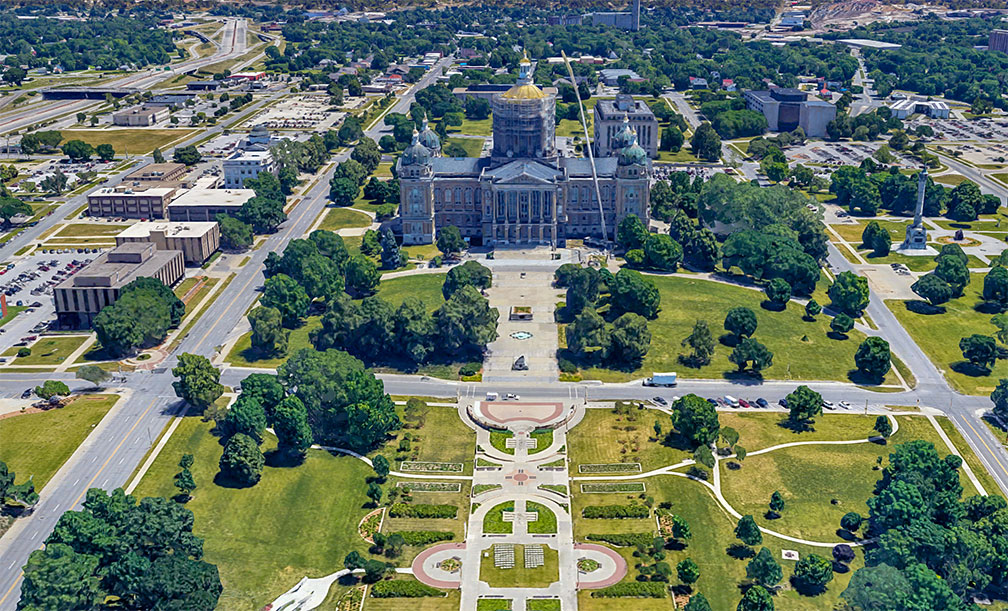 Iowa State Capitol in Des Moines, state capital of Iowa