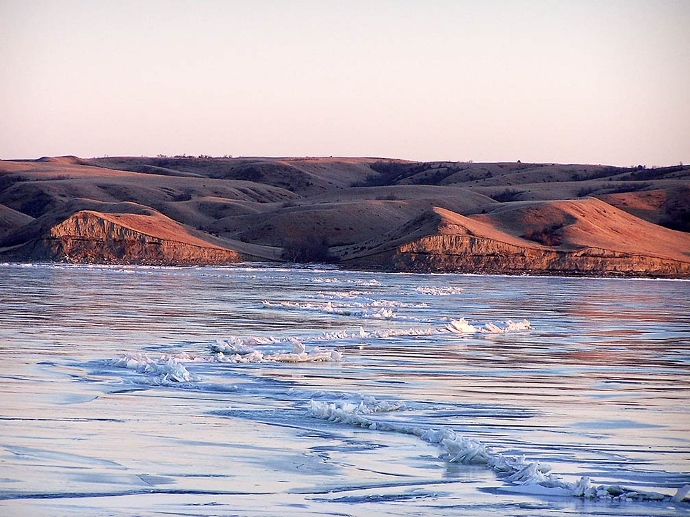 Lake Sakakawea in January, North Dakota