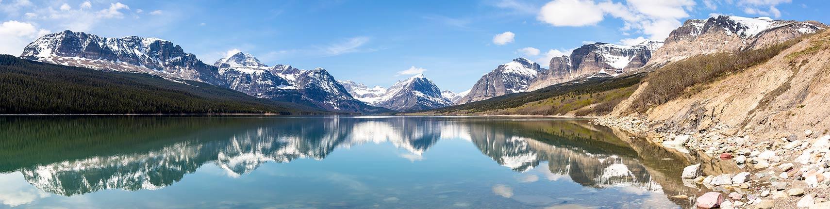 world maps index panorama of sherburne lake in the many glacier region of glacier national park montana