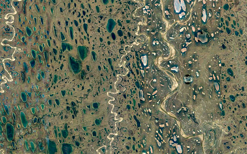 Satellite view of lakes and rivers in Far North of Alaska