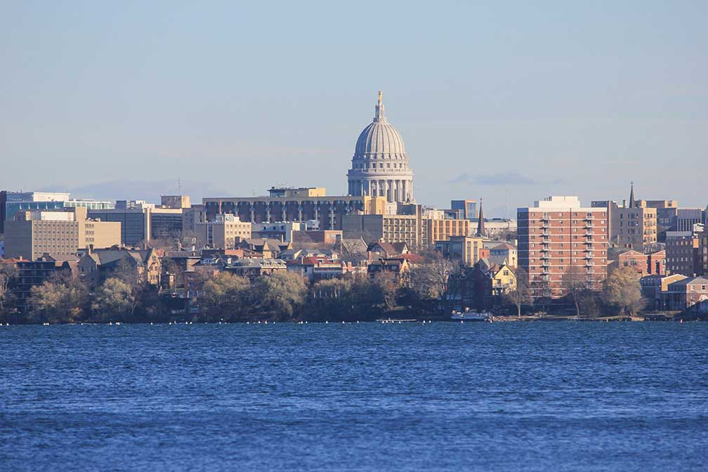Madison skyline with Wisconsin State Capitol