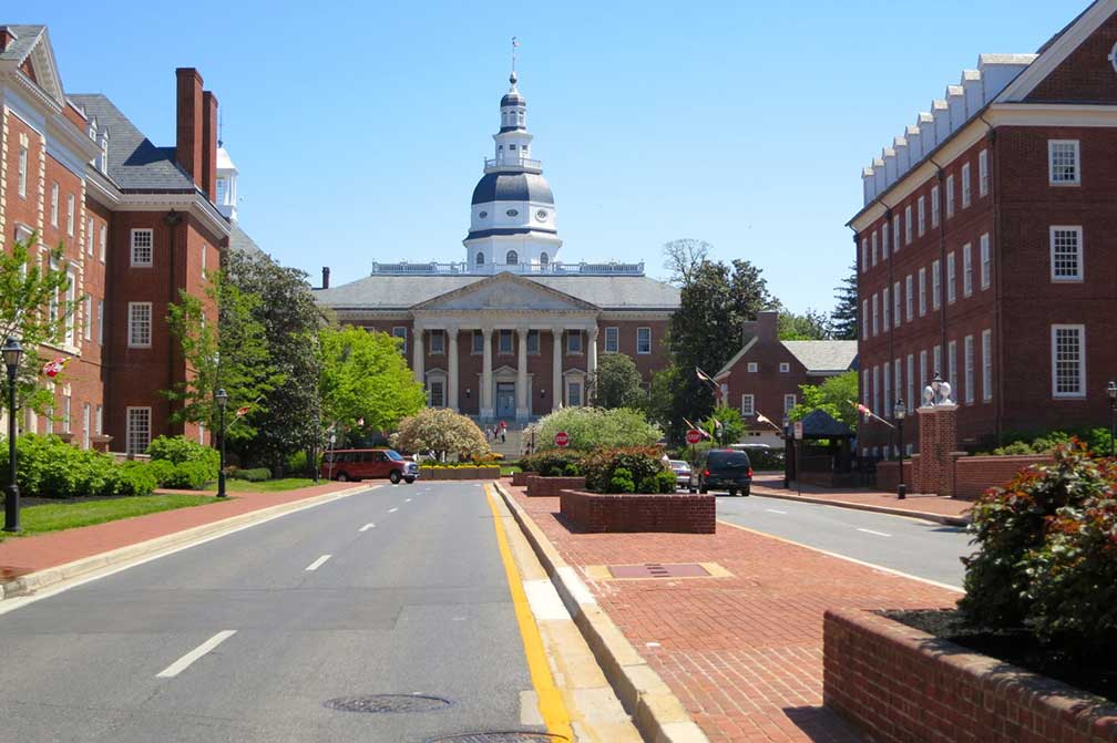 Annapolis street with Maryland State Capitol, Maryland, USA