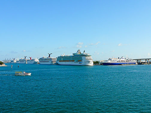 Port of Miami, located in Biscayne Bay, Miami Florida, USA
