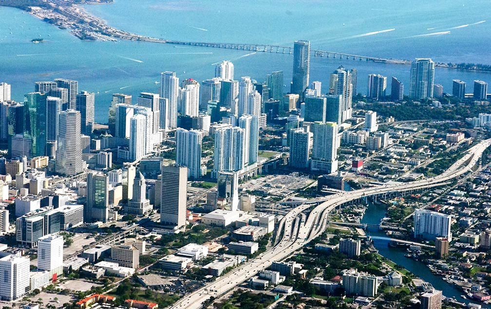Miami Aerial view of Downtown Miami, Florida, USA