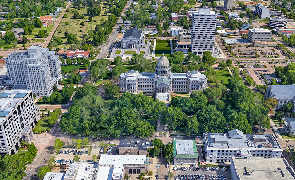 Rendered image of Mississippi State Capitol in Jackson, Mississippi