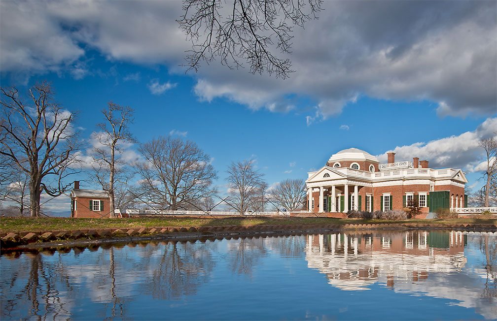 View of Monticello and the North Pavilion