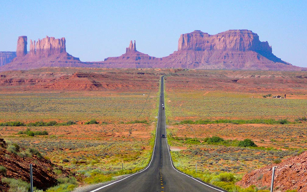 View of Monument Valley in Utah looking