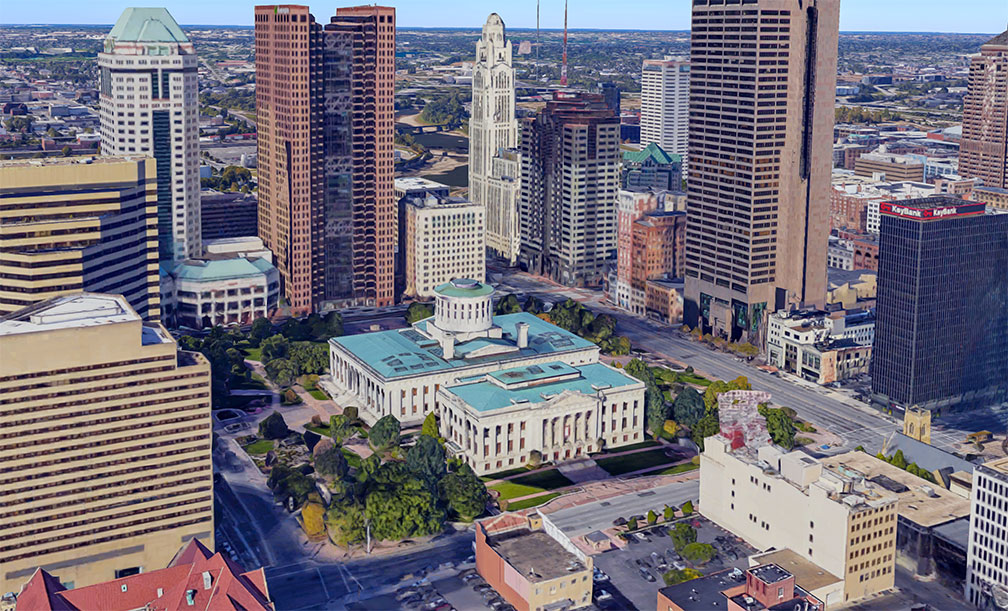 Rendered image of the Ohio Statehouse in Columbus, Ohio