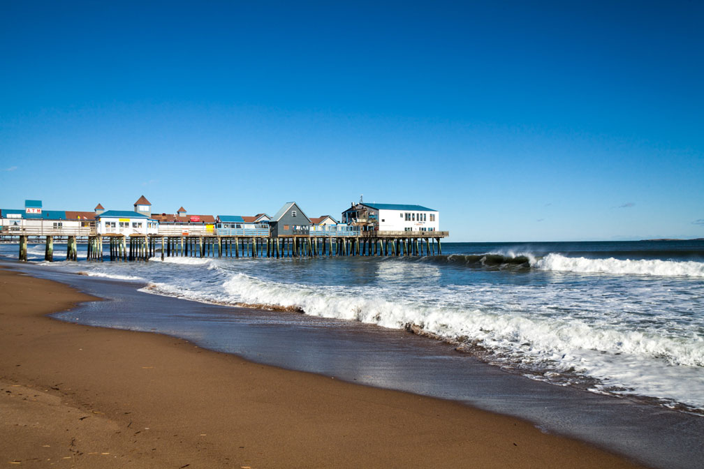 Wooden pier at Old Orchard Beach, Maine
