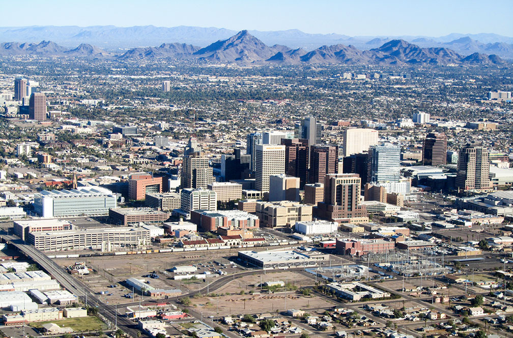 Aerial view of Downtown Phoenix with Piestewa Peak, Arizona