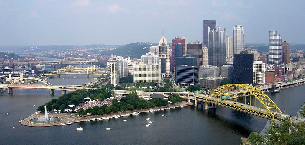 Pittsburgh, Pennsylvania at the confluence of the Allegheny and Monongahela rivers